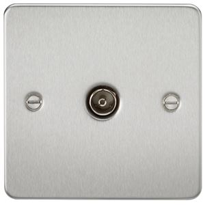 Picture of 1 GANG COAX OUTLET  FLAT PLATE BRUSHED CHROME