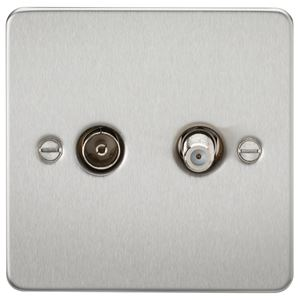Picture of 1 GANG COAX/SATELLITE  FLAT PLATE BRUSHED CHROME