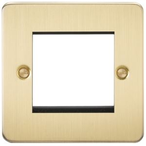 Picture of 2 GANG EURO MODULAR GRID PLATE 2 GANG BRUSHED BRASS