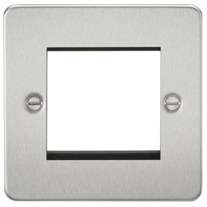 Picture of 2 GANG EURO MODULAR GRID PLATE 2 GANG BRUSHED CHROME