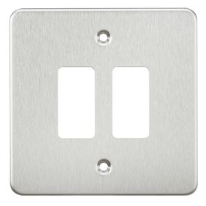 Picture of 2 GANG GRID PLATE 2 GANG SWITCH PLATE  BRUSHED CHROME