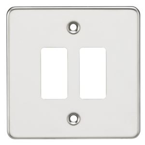 Picture of 2 GANG GRID PLATE 2 GANG SWITCH PLATE  POLISHED CHROME