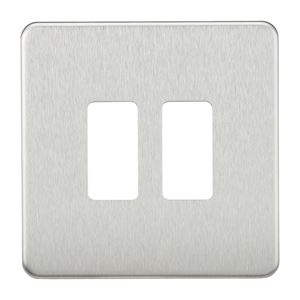 Picture of 1 GANG PLATE 2 MOD BRUSHED CHROME GRID PLATE SWITCH PLATE KNIGHTSBRIDGE