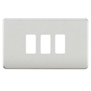 Picture of 2 GANG PLATE 3 MOD BRUSHED CHROME GRID PLATE SWITCH PLATE KNIGHTSBRIDGE