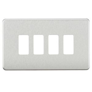 Picture of 2 GANG PLATE 4 MOD BRUSHED CHROME GRID PLATE SWITCH PLATE KNIGHTSBRIDGE