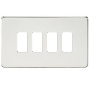 Picture of 2 GANG PLATE 4 MOD POLISHED CHROME GRID PLATE SWITCH PLATE KNIGHTSBRIDGE