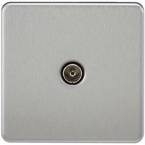 Picture of 1 GANG COAX OUTLET  SCREWLESS FLAT PLATE BRUSHED CHROME