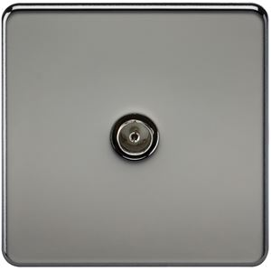 Picture of 1 GANG COAX OUTLET  SCREWLESS FLAT PLATE BLACK NICKEL
