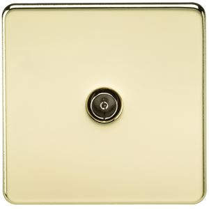 Picture of 1 GANG COAX OUTLET  SCREWLESS FLAT PLATE POLISHED BRASS