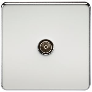 Picture of 1 GANG COAX OUTLET  SCREWLESS FLAT PLATE POLISHED CHROME