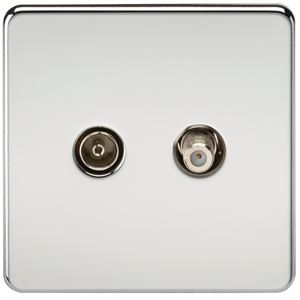 Picture of 1 GANG COAX/SATELLITE  SCREWLESS FLAT PLATE POLISHED CHROME