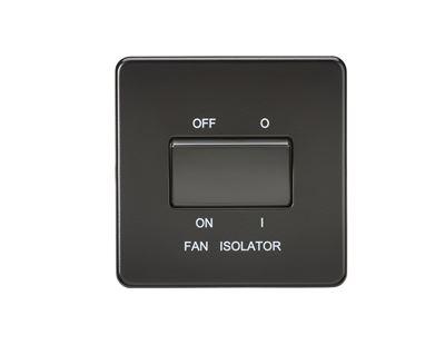 Picture of 1 FAN ISOLATOR SWITCH  SCREWLESS FLAT PLATE MATT BLACK