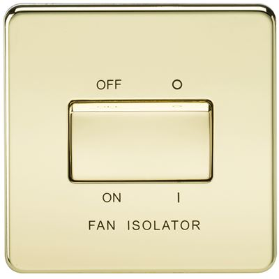 Picture of 1 FAN ISOLATOR SWITCH  SCREWLESS FLAT PLATE POLISHED BRASS