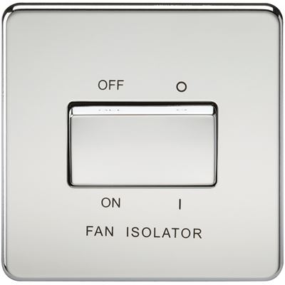 Picture of 1 FAN ISOLATOR SWITCH  SCREWLESS FLAT PLATE POLISHED CHROME