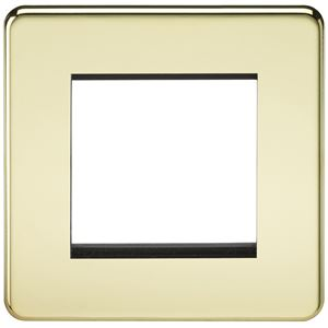 Picture of 2 GANG EURO MODULAR GRID PLATE 2 GANG POLISHED BRASS