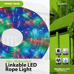 Picture of 10mtr MULTICOLOUR LED LINKABLE ROPE LIGHT RED/BLUE/GREEN 8 FUNCTION CONTROLLER UP TO 2 X 10MTR LINKABLE