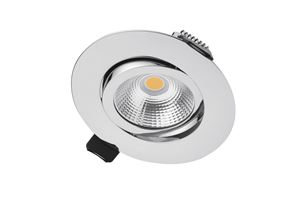 Picture of LUX ULTRA SLIM 6.5W TILTABLE DIMMABLE DOWNLIGHT POLISHED CHROME 3000K WARM WHITE IP40 650LM 36 DEGREE BEAM  CUT OUT 65MM DEPTH 27MM INTEGRAL