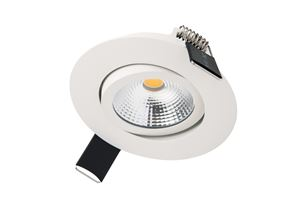 Picture of LUX ULTRA SLIM 6.5W TILTABLE DIMMABLE DOWNLIGHT MATT WHITE 4000K COOL WHITE IP40 670LM 36 DEGREE BEAM  CUT OUT 65MM DEPTH 27MM INTEGRAL