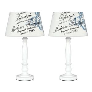 Picture of PAIR CHERUB TABLE LAMPS C/W CREAM/BLUE SHADES