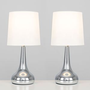 Picture of PAIR TEAR DROP TOUCH TABLE LAMPS CHROME/CREAM