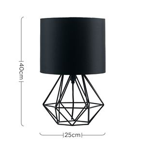 Picture of ANGUS GEOMETRIC TABLE LAMP SATIN BLACK/BLACK