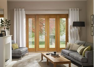 Picture of Ext Pre-Finished Oak 4' La Porte French Door Set (Brass)