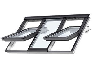 Picture of Velux Centre Pivot 3-IN-1 Roof Window White Painted188X118 3 ROOF WINDOW SASHES IN A SINGLE FRAME. TRIPLE GLAZED.FFKF06
