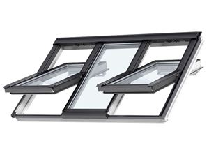 Picture of Velux Centre Pivot 3-IN-1 Roof Window White Painted188X140 3 ROOF WINDOW SASHES IN A SINGLE FRAME. TRIPLE GLAZED.FFKF08
